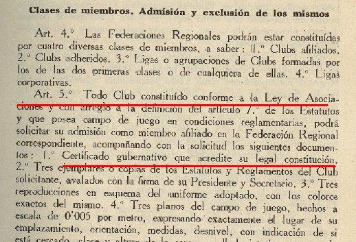 art. Nº5. Reglamento Orgánico de la FEF. 1931 y 1932