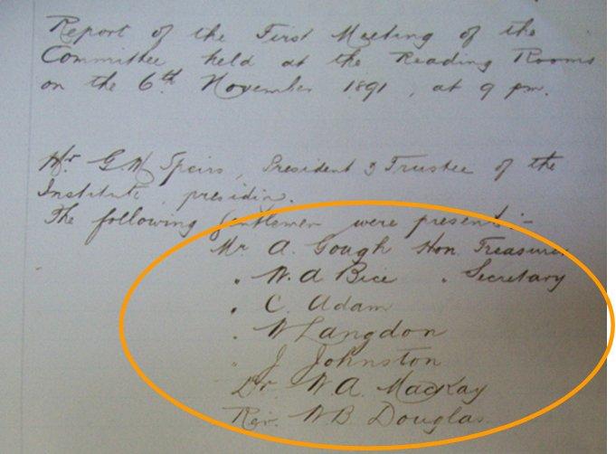 Acta de Constitución del Seamen´s Institute. 6 de Noviembre de 1891. (AHFT)