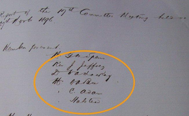 Reunión de 27 Marzo de 1896. Seamen´s Institute. (AHFT)