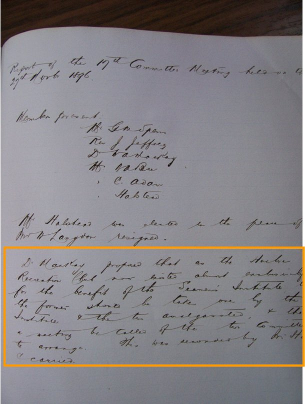 Acta de 27 de Marzo de 1896. Seamen´s Institute.