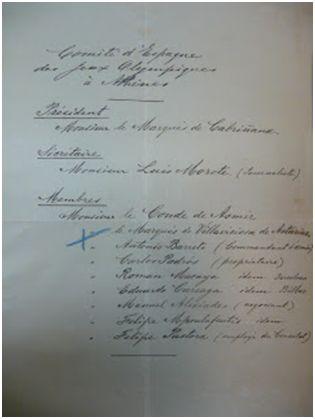 Carta de Jorge Soto (cónsul de Grecia en Madrid) a Spyridon Lambros (secretario general Comité de los Juegos Olímpicos) comunicándole la composición del Comité Español. 26 de mayo de 1905. HOC-Archives, K7- Φ5-E3.