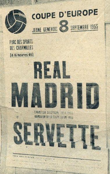 Cartel anunciador del primer partido del Real Madrid en la Copa de Europa. Nótese el nombre de la competición que no correspondía con el oficial.