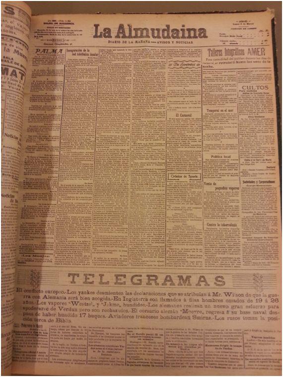 Foto: Diario La Almudaina del 6 de marzo de 1916 donde aparece la noticia de la fundación del Alfonso XIII y la construcción del campo Buenos Aires.