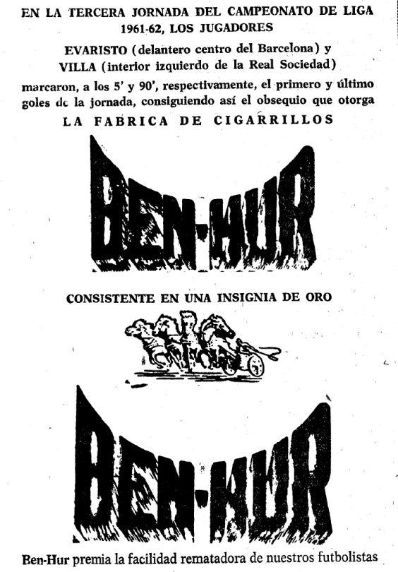 """En setiembre de 1961, la fábrica de cigarros """"Ben-Hur"""" continuaba unida al fútbol."""