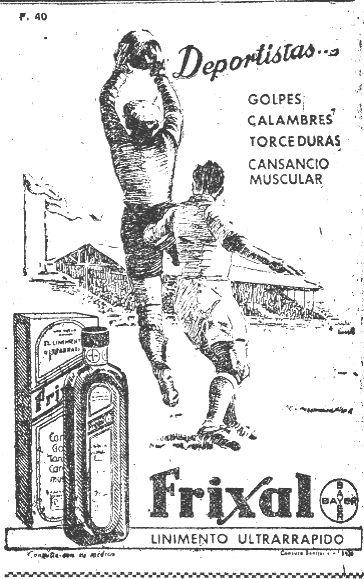 """""""Bayer"""", """"Coca-Cola"""", o Philips, tres marcas de postín, tampoco perdieron de vista al fútbol en su publicidad. Inserción en prensa correspondiente a febrero de 1951."""