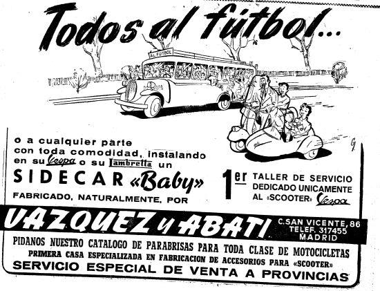 Al fútbol en sidecar, durante la autarquía (noviembre 1955).