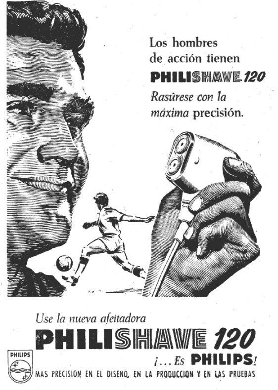 La publicidad dirigida a los varones se apoyó frecuentemente en el deporte rey.(campaña de afeitadoras Philips en mayo 1962)