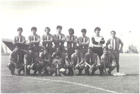 Joventut Bisbalenca CF 1984-85. Vidal, López, Pérez, Castro, Cano, Fernández, Rovira y Comadran. Lluís, Andújar, Galofré, Porras, Sabrià, Ribas y Prieto.
