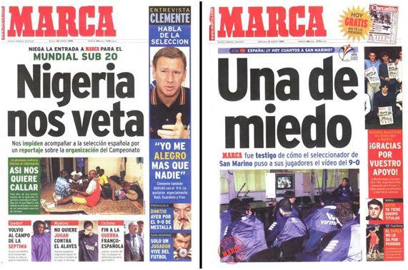 """""""Portadas de Marca de los días 30 y 31 de marzo de 1999. En la del 31 aparecen, a la derecha, algunos miembros de la selección española sub'20 solidarizándose con el diario""""."""