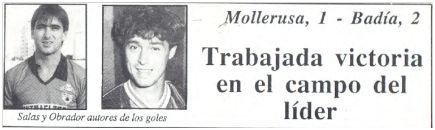 Titular de la portada de Esportiu Comarcal, núm. 347, 31 noviembre 1987.