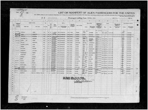 Lista de pasajeros del Orizaba en el puerto de Nueva York 21-05-1938 (1)