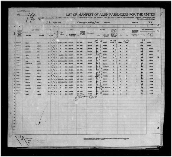 Lista de pasajeros del Queen Mary en el Puerto de Nueva York 15-06-1938 (2)