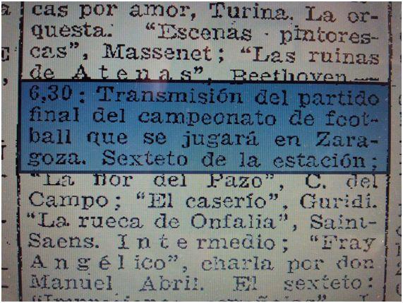 A través de ABC también podemos saber que el encuentro fue emitido por Unión Radio Madrid. ABC, 15 de mayo de 1927