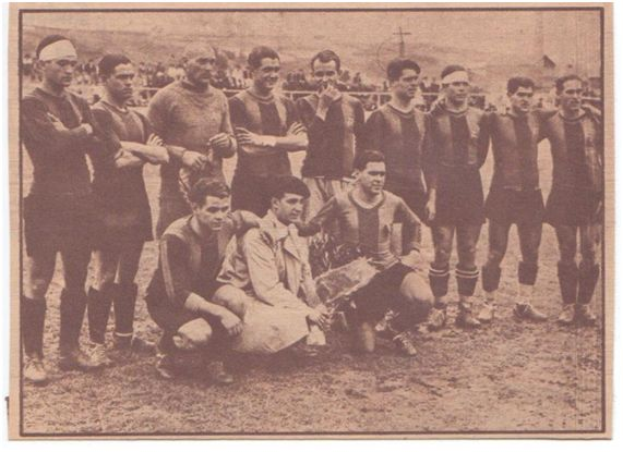 (Equipo del Barcelona, primer vencedor de Liga, 1929).