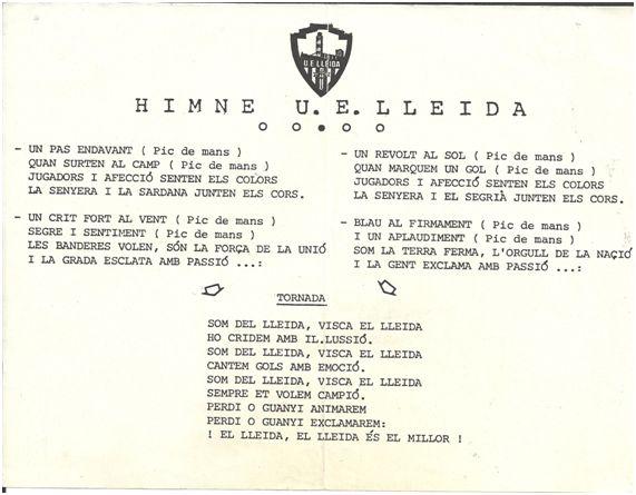 Copia de la letra del himno regalada a los socios del Lleida.