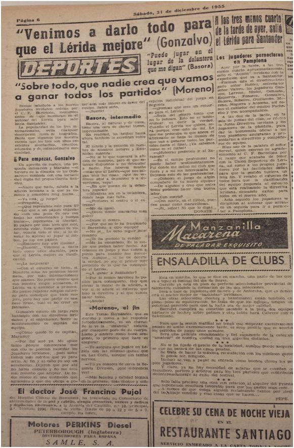 Edición de La Mañana del 31 de diciembre de 1955.