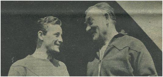 El técnico Franz Plattko con Gonzalvo III en el Barça.