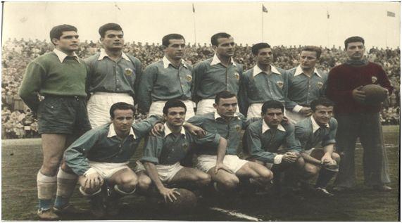 Arriba: Gascon, Gensana, Carmelo Mòdol, Enric Giménez, Jarque, Gonzalvo III y Larrosa. Abajo: Basora, Ribelles, Arocena, Moreno y Esquerda.