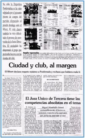 Tanto el club, como las instituciones ciudadanas, pusieron especial empeño en desligarse del escándalo. Una vez más, toda la culpa recaía en el chivo expiatorio.