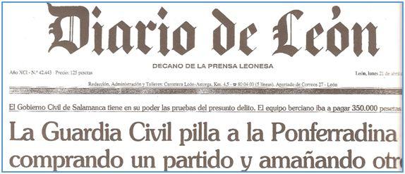 Así abrió Diario de León su edición correspondiente al lunes 21 de abril.