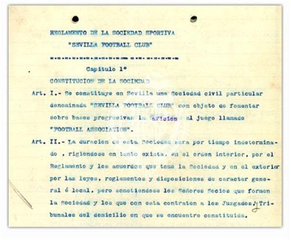 Reglamento del Sevilla Football Club fechado en febrero de 1909