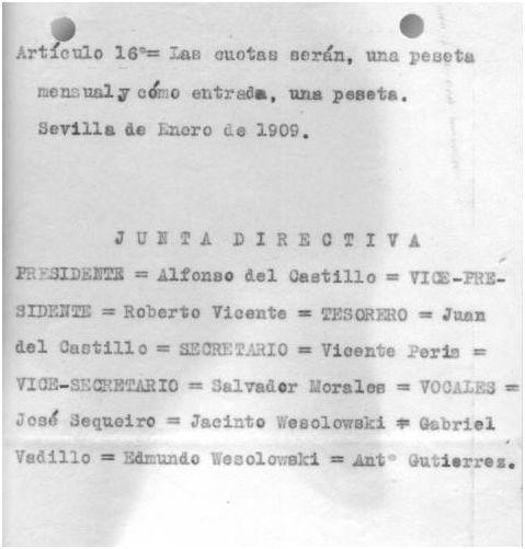 Reglamento del Sevilla Balompié fechado en Enero 1909