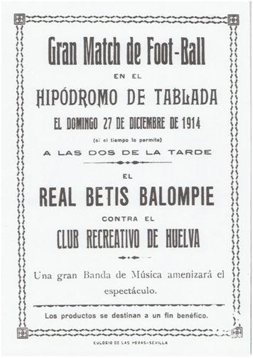 Cartel anunciador del partido contra el Recreativo de Huelva
