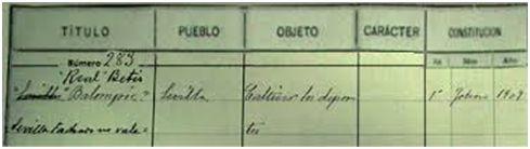 Inscripción en el Registro del Gobierno Civil de Sevilla