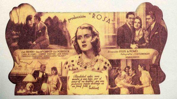 Programa publicitario de mano sobre un film dirigido por Félix de Pomés