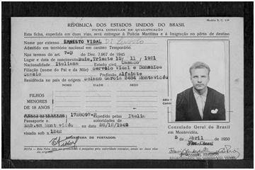 Visado de entrada en Brasil de Ernesto Vidal Di Servolo [sic] 5 de abril de 1950 (2)