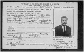 Visado de entrada en Brasil de Ernesto Servolo Pedro Vidal Cassio. 11 de abril de 1951 (8)