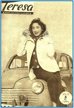 """""""Teresa"""" tomó el relevo a """"Medina"""" como medio para acercar a la mujer el ideario falangista. Aunque en la imagen -número de 1956- se tratara de vender la idea de una muchacha nueva e independiente, los dogmas y modelos de su interior seguían anclados al pretérito."""