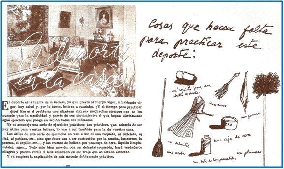Gimnasia doméstica según la Sección Femenina. Alguien debió pensar que la ocurrencia tenía gracia y no resultaba ofensiva.