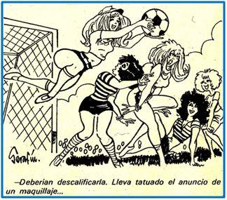 Otro chiste machistón publicado en 1972, cuando las mujeres sólo pretendían se les dejase jugar en paz.