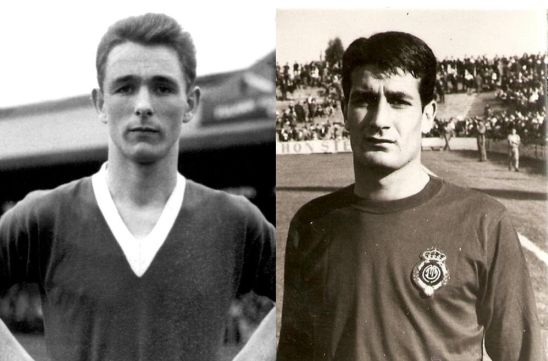 Brian Clough (izquierda) y Antonio Oviedo (derecha) en sus respectivas etapas como jugadores.