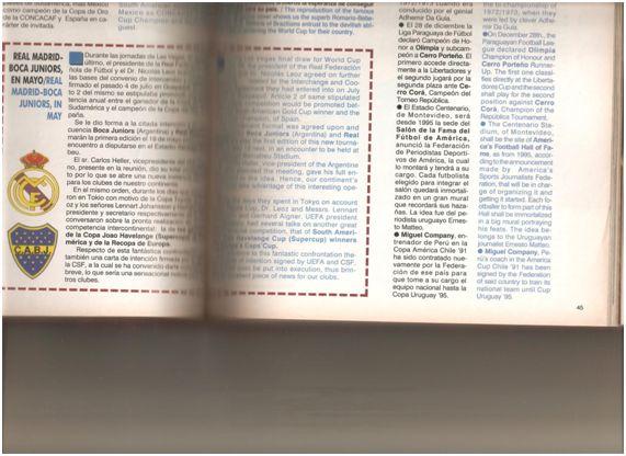 """Libro """"Conmebol 2001"""". II parte. """"Competiciones de la Conmebol"""". (La foto tiene un error : el jugador de Boca no es Medero sino Juan Simón). Editado por la CSF en 2001. La inclusión de esta Copa en el libro, demuestra claramente la oficialidad de dicho  torneo."""