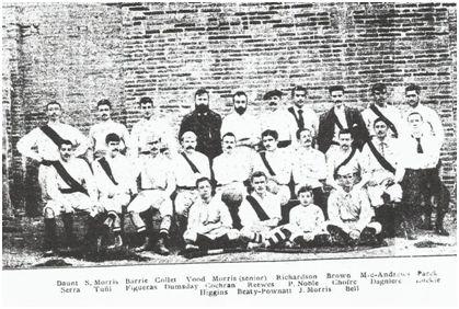 """Foto del primer equipo organizado de fútbol de Barcelona (1890 ó 1892). Procedencia: Escardó, Joaquín (1906, 6 de enero): """"Los primeros partidos de football en esta capital"""". Los Deportes, Barcelona, p. 868-869."""