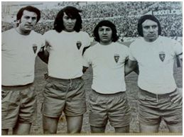 """""""Los zaraguayos"""" Ocampos, Diarte, Arrúa y Soto, jugadores de Paraguay. Tpda. 73-74 Real Zaragoza"""