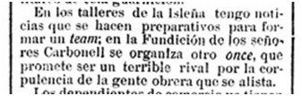 Primera mención de los equipos Mecánico y Fundición Carbonell, origen del Baleares FC (Última Hora, 3 de abril de 1920)