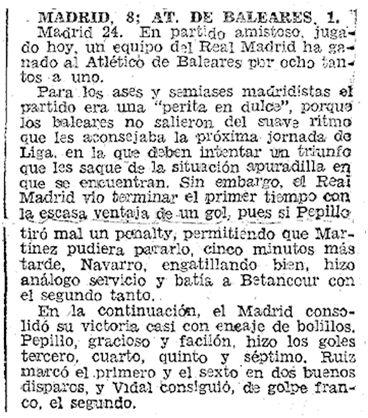 Crónica del Real Madrid – Atlético Baleares (8-1) jugado el 24 de enero de 1962 (ABC, 25 de enero de 1962)