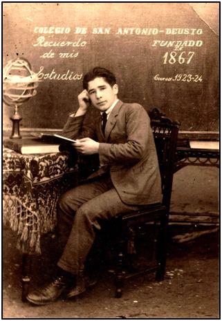 Juan Lizaso, en 1924. Empezaba a jugar con el Deusto.