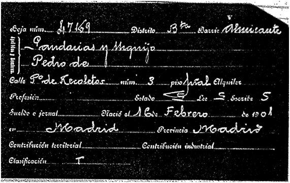 Ficha del padrón de 1915 Pedro Gandarias Urquijo (Propiedad del Archivo de la Villa de Madrid)