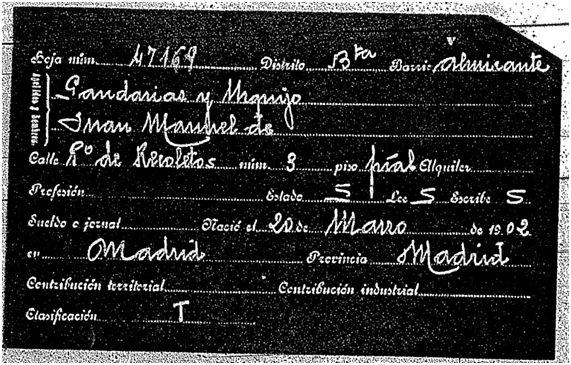 Ficha del padrón de 1915 Juan Manuel Gandarias Urquijo (Propiedad del Archivo de la Villa de Madrid)