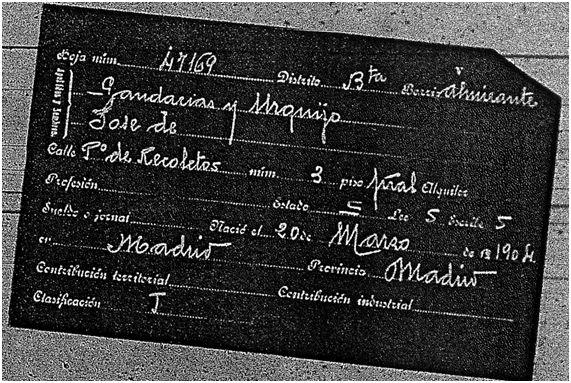 Ficha del padrón de 1915 José Gandarias Urquijo (Propiedad del Archivo de la Villa de Madrid)