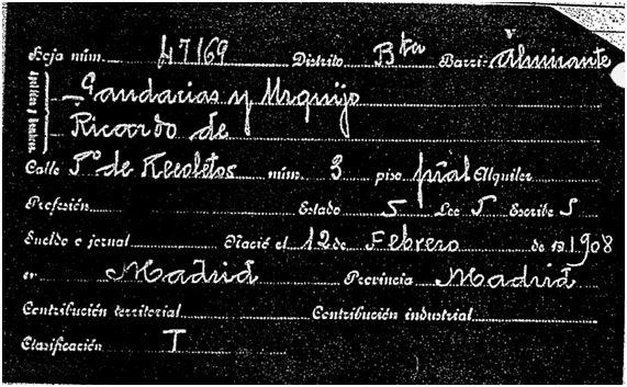 Ficha del padrón de 1915 Ricardo Gandarias Urquijo (Propiedad del Archivo de la Villa de Madrid)