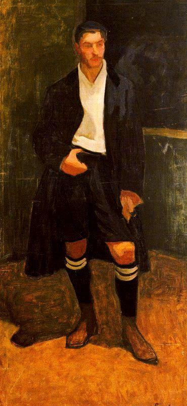 """El pintor Nicanor Piñole inmortalizó la figura del guardameta gijonés, primo del artista, en esto óleo sobre lienzo de 1907 titulado: """"Eduardo Prendes, futbolista""""."""