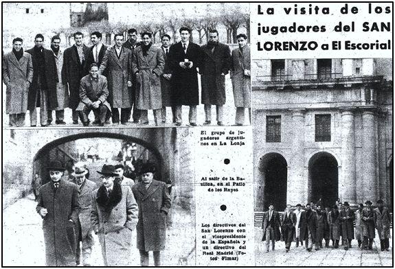 El equipo argentino también fue objetivo de la crónica social. En este caso se recoge su visita a San Lorenzo del Escorial.