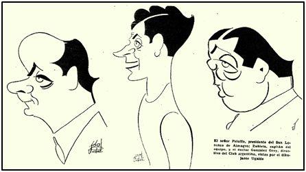 """El presidente """"cuervo"""", Sr. Peluffo, Zubieta, capitán del equipo, y González Grey, directivo, caricaturizados por Ugalde."""