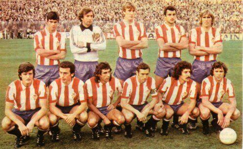 19-11-1978: Real Madrid 3 Sporting de Gijón 2 De pie izquierda a derecha: Ciriaco, Castro, Maceda, Joaquín y Rezza Agachados en el mismo orden: González, Moran, Mesa, Quini, David y Ferrero (Cortesía de Adolfo Fernández Vaz)