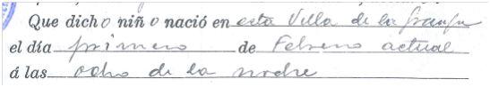 1 de febrero de 1920 a las 20 horas Granja de Torrehermosa